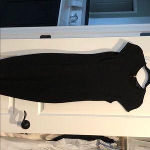 Black dress with gold zipper